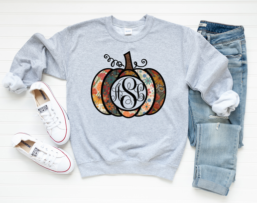 Pumpkin Monogram Sweatshirt - ASK Apparel LLC