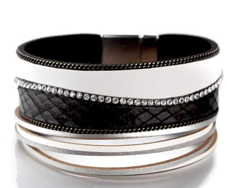 Black and White Leather Layered Clasp Statement Bracelet