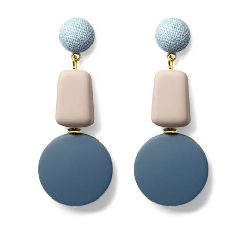 Pastel Stone Sensation - Two Tone Soft Acrylic Dangle Earrings