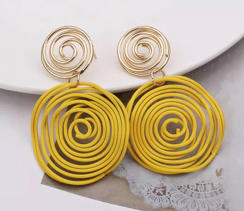 Handmade Yellow & Gold Wire Statement Earrings
