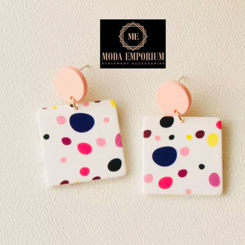 Celebration - Colourful Spotted Statement Earrings