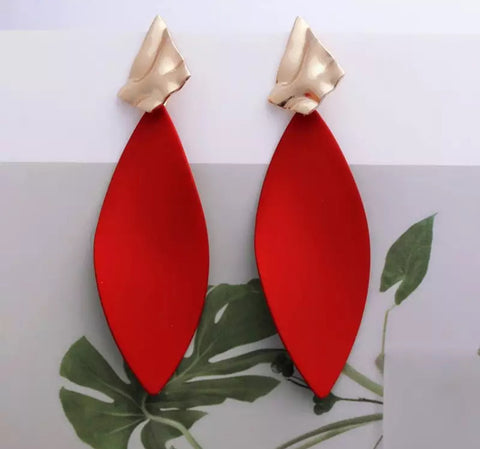 Regal Red & Gold Oval Dangle Statement Earrings