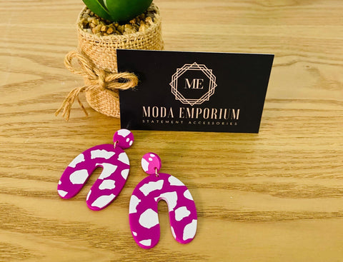Carnival - Lightweight Pink & White Statement Earrings