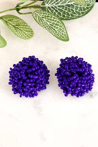 Cher - Bold Navy Beaded Statement Stud Earrings