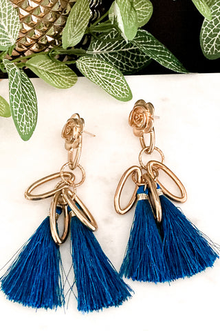 Fantastia - Gold and Teal Tassel Earrings