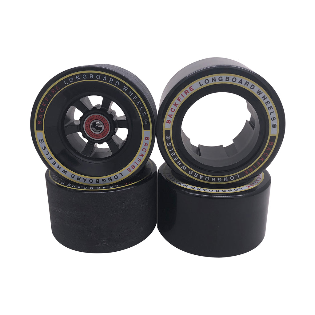 Backfire Bigfoot 96mm Black Wheels with 4 Pcs of Bearings and 2 Spacer Inside for G2s Only