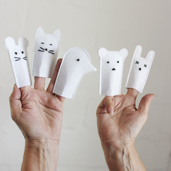 Forest Friend Finger Puppets-White
