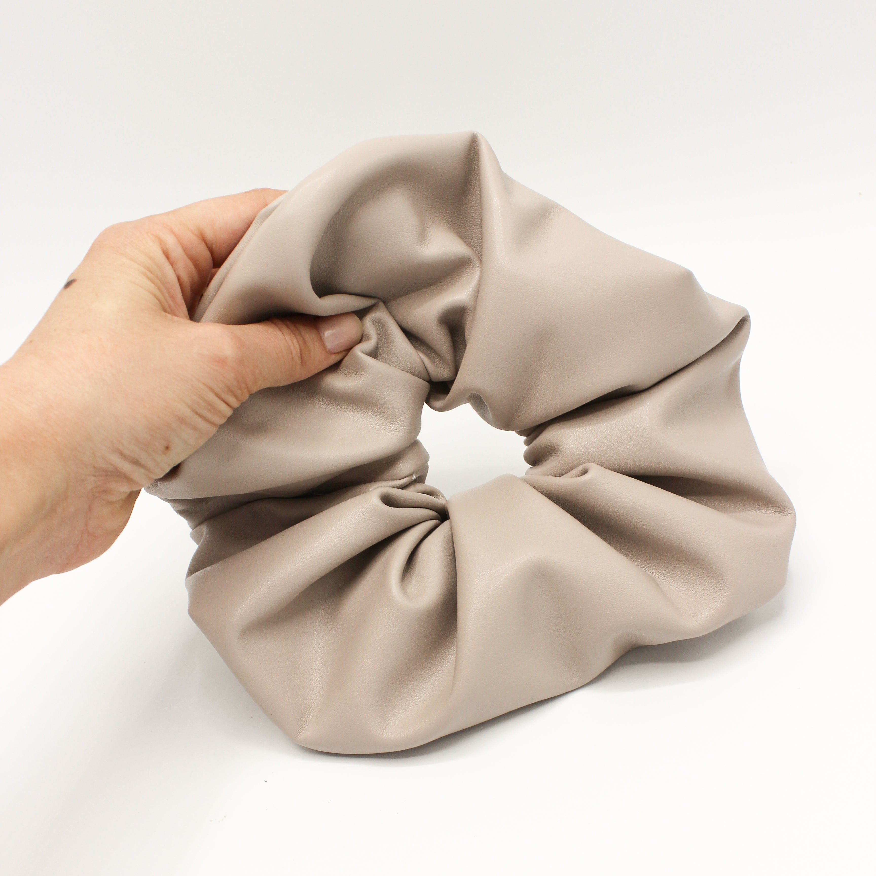 Oversized Dusty Pink Faux Leather Scrunchie