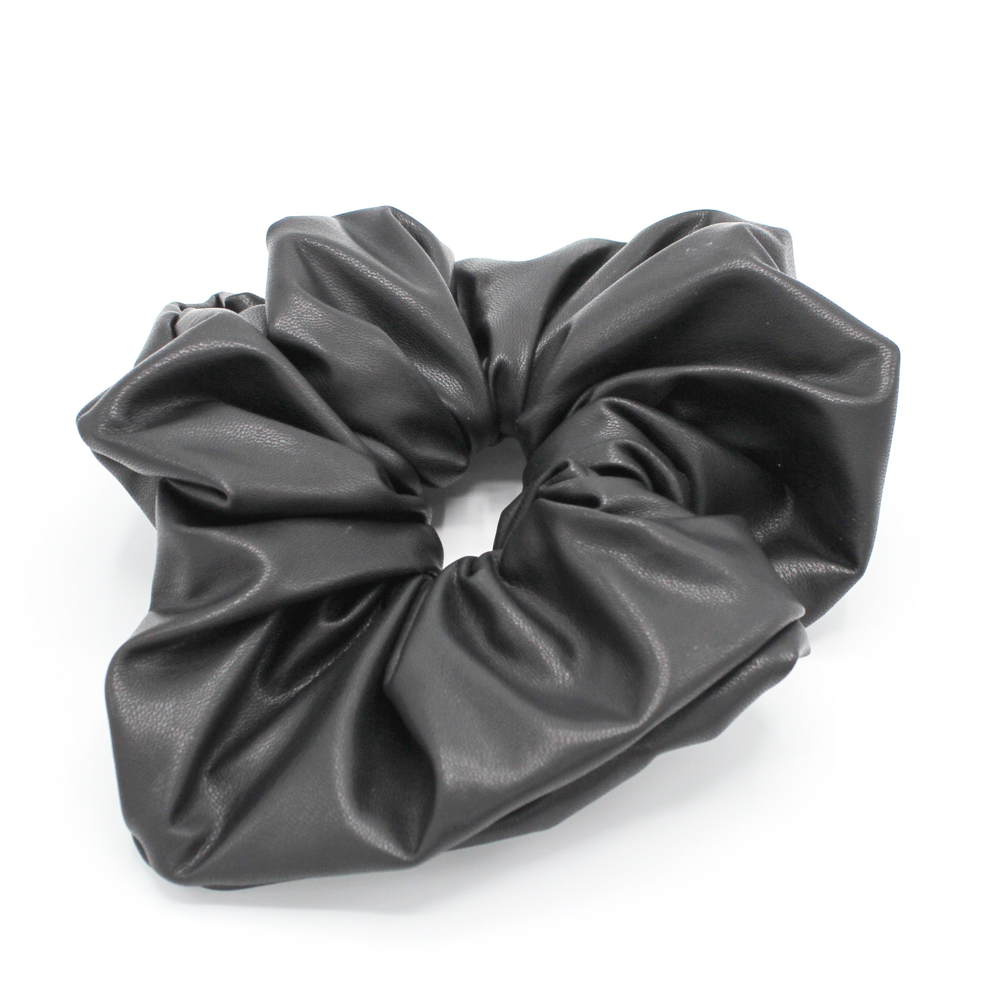 Oversized Black Faux Leather Scrunchie