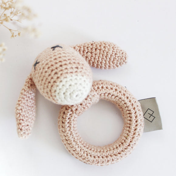 Dusty Pink Bunny Rattle