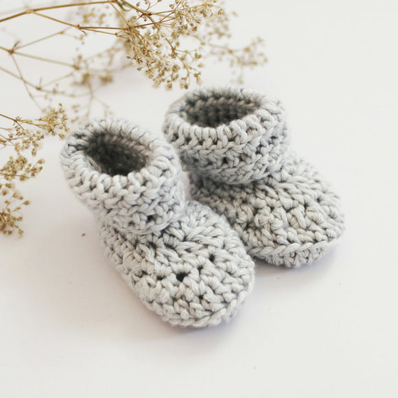 Silver Grey Baby Booties