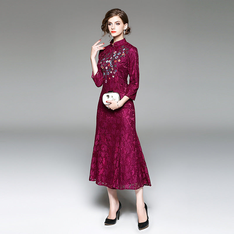 Bud Royal Retro Embroidery Vintage Lace Long Party Dress Vibes9