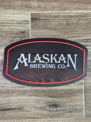 Original Metal Beer Sign - Alaskan Brewing Co. Wood