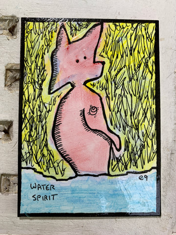 "Original Art ACEO Card Miniature Painting - ""Water Spirit"" Signed by Artist"