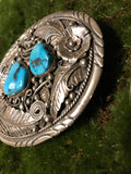 Large Sterling Silver Navajo Sleeping Beauty Turquoise Belt Buckle w/Feathers signed Betta Lee - Savage Finds