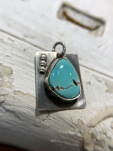 Handmade Artisan Real-Turquoise Modernist Pendant in Solid Sterling Silver - Savage Finds