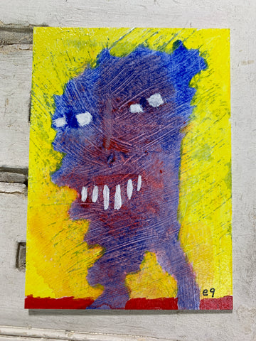 "Original Art ACEO Card Miniature Painting - ""Needy Thing"" Signed by Artist"