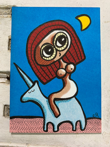 "Original Art ACEO Card Miniature Painting - ""Unicorn"" Signed by Artist"