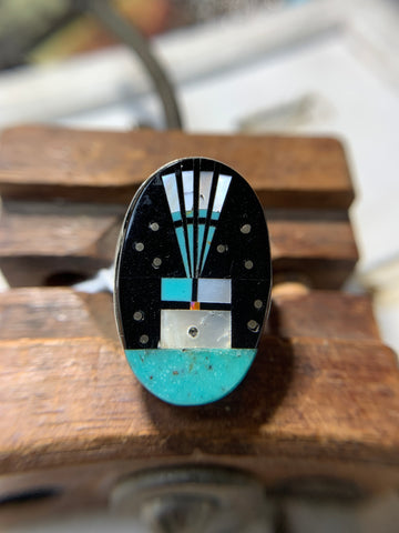 Signed Navajo Inlaid Turquoise Sterling Silver Ring - Gilbert Smith - Savage Finds