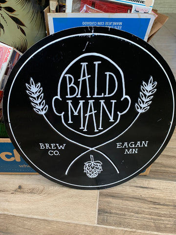 Original Metal Beer Sign - BALD MAN BREW CO
