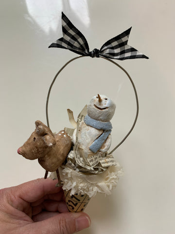 "8"" Handmade Christmas Ornament Cone - Snowman with Rudolph"