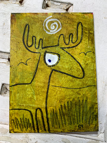 "Original Art ACEO Card Miniature Painting - ""Deer"" Signed by Artist - Savage Finds"