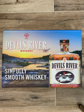 Original Metal Liquor Sign - DEVILS RIVER WHISKEY Bourbon