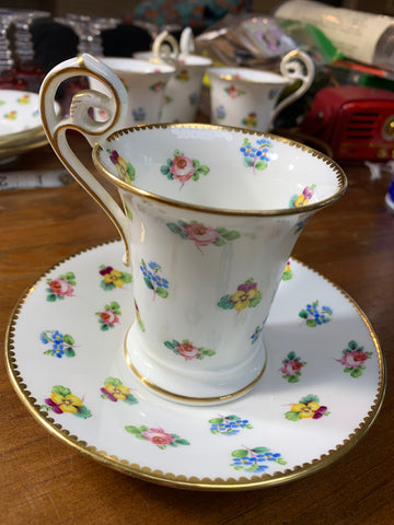 Antique Floral Teacup and Saucer - Higgins & Seiter UK New York