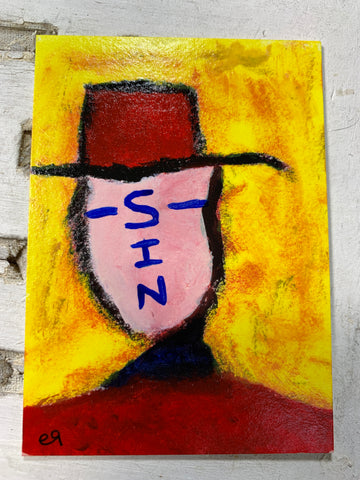 "Original Art ACEO Card Miniature Painting - ""Sin"" Signed by Artist - Savage Finds"