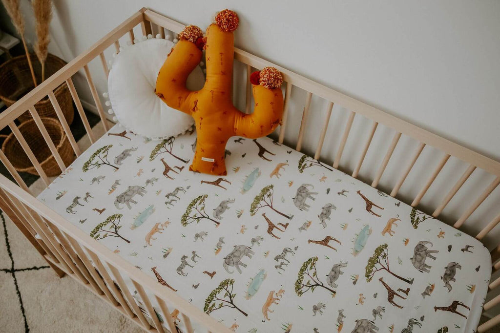 Snuggle Hunny Kids- Safari Fitted Cot Sheet