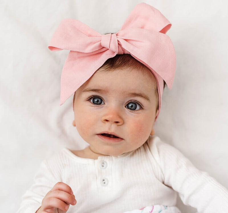 Snuggle Hunny Kids-Baby Pink Linen Bow Pre-Tied Headband Wrap
