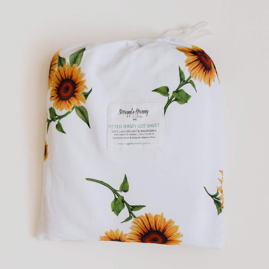 Snuggle Hunny Kids- Sunflower Fitted Cot Sheet