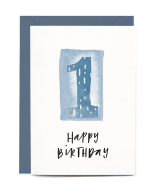 In The Daylight Greeting Cards - 1st Birthday Blue