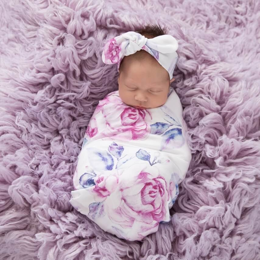Snuggle Hunny- Lilac Skies Jersey Wrap & Headband Set