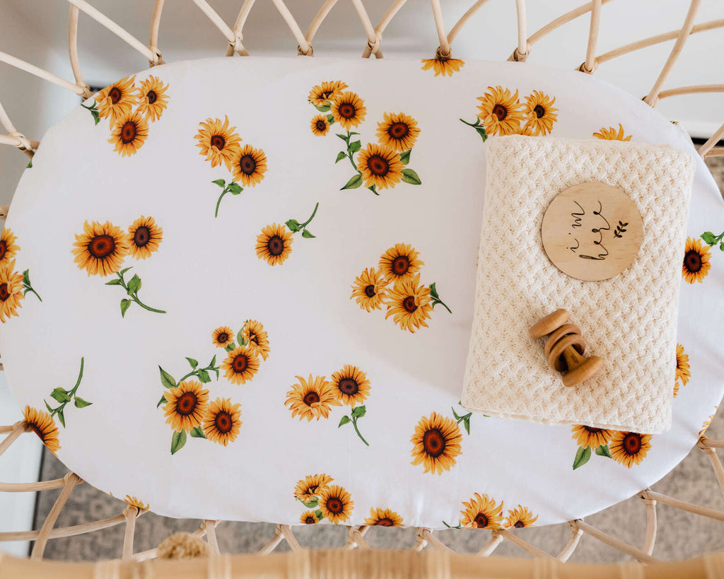 Snuggle Hunny Kids- Sunflower Fitted Bassinet Sheet & Change Pad Cover