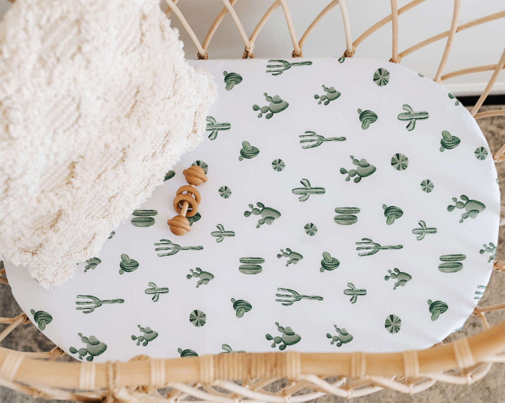 Snuggle Hunny Kids- Cactus Fitted Bassinet Sheet & Change Pad Cover