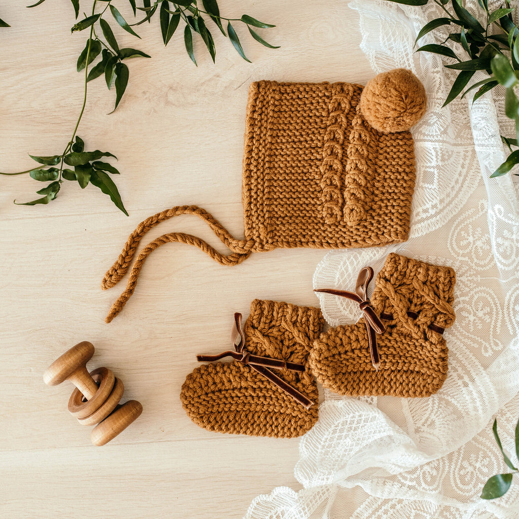 Snuggle Hunny Kids- Bronze Bonnet  & Bootie Set