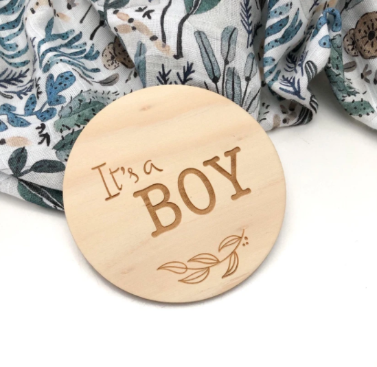 "One Chew Three- ""It's a Boy"" Timber Plaque"