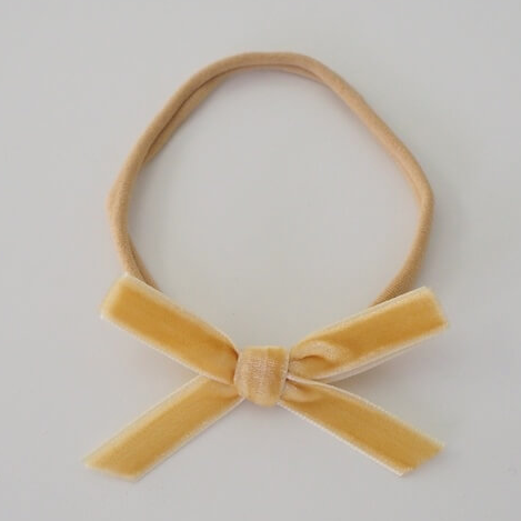 Snuggle Hunny Kids- Gold Velvet Bow Headband