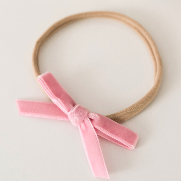 Snuggle Hunny Kids- Rose Pink Velvet Bow Headband