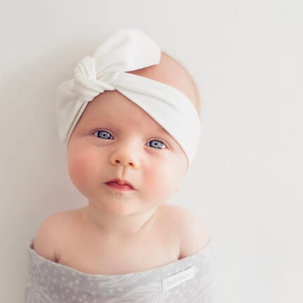 Snuggle Hunny Kids- White Baby Topknot Headband