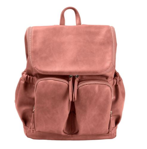 Oi Oi- Faux Leather Nappy Backpack- Dusty Pink