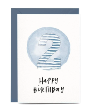 In The Daylight Greeting Cards - 2nd Birthday Blue