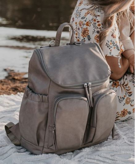 Oi Oi- Faux Leather Nappy Backpack- Taupe