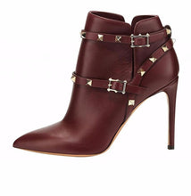 Pointed toe buckle-strap Stiletto Boots with Rivet Details