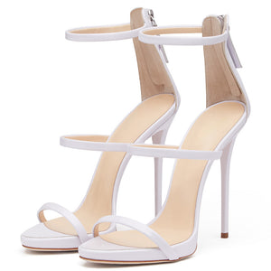 Three Strap Zip-Up Stiletto Sandals