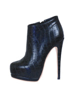 Textured Zip-Up Stiletto Boots