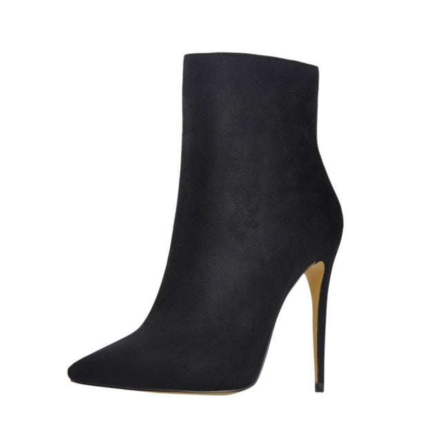 Winter Faux Suede Stiletto Heel Ankle Boots with Pointed Toe and Side Zip