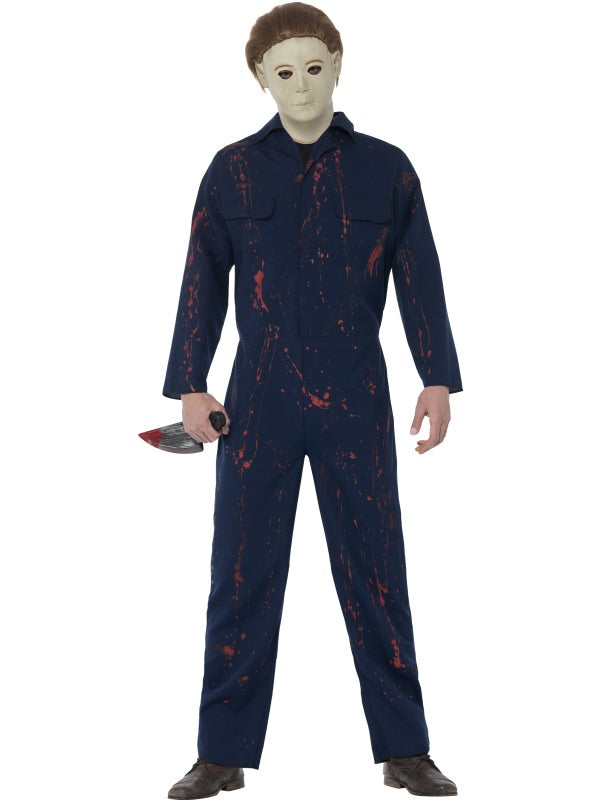 Halloween H20 Michael Myers Costume, Blue, with Jumpsuit, Latex Mask & Knife