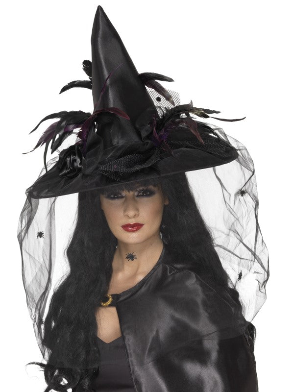 Witch Hat, Feathers & Netting, Black, Deluxe
